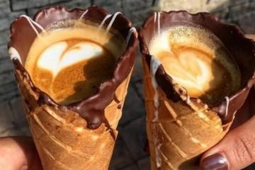 Coffee in ice cream cone