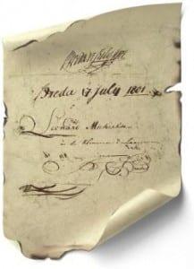 Stifterne af Miko har underskrevet på fint pergamentpapir.